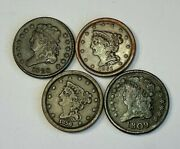 4x Mixed Year Half Cent 1/2andcent Set Fine - Extremely Fine F-xf - Lot Of 4