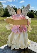 Vintage Paper Mache Angel Christmas Ornament Tree Topper Flying Gold 12 Tall
