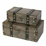 Wooden Storage Trunk Set Of 2   Wood Suitcase Chest With Straps Westminster