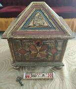 Antique Wooden Reliquary And Tube Glass Reliquary With True Cross And Saint Helena.
