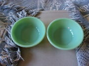 Two Vintage Fire King Jadeite Soup/chili Bowls, Restaurant Style, Heavy, Jadite