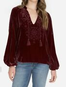 320 Johnny Was Sz S Dylan Embroidered Velvet Peasant Eyelet Blouse Top Vino