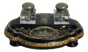 Black Wood Lacquer Mop Victorian Glass Inkwells Desk Stand C.1880