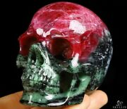 Gemstone 3.1 Ruby Zoisite Carved Crystal Skull, Realistic, Crystal Healing533