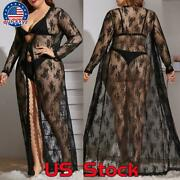 Plus Size Women Lace See Through Lingerie Sheer Night Gown Dressing Robe Dress