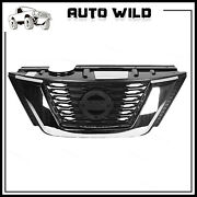 Front Upper Grille Black And Chrome Mesh Fit For Nissan Rogue 2017 2018 2019