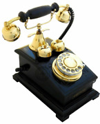 Victorian Black Antique Brass Rotary Dial Functional Telephone Home Decor Phone