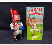 Antique Japanese Tin Toys S.y 1950s Spring-loaded Tin Baseball Monkey With Box M