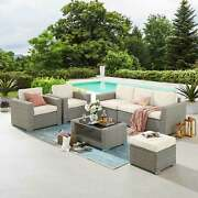 Patio Conversation Sets With Coffee Table And Cushion 7 Piece Wicker Rattan Sofa
