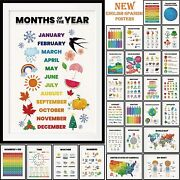 28 Pieces English-spanish Educational Posters For Toddlers For Nursery Home For