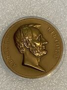 Abraham Lincoln Brass Table Medal Abe Photo On Front Inaugural And Assassinated