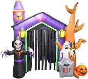 8.5 Foot Halloween Inflatable Haunted House Castle With Skeleton Ghost And Skulls