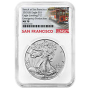 Presale - 2021 S 1 Type 2 American Silver Eagle Ngc Ms70 Emergency Production
