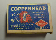 Vintage Small Box Matches Matchbox Copperhead Full Indian Chief Tommahawk