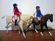 2 Vintage Breyer Traditional And Classic Horses With English Rider's