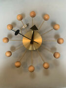 Vintage George Nelson Ball Clock For Howard Miller In Brass And Blonde Wood