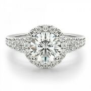 1.70 Ct Moissanite Round Cut White Gold Proposal Ring 18k Solitaire Girl Ring