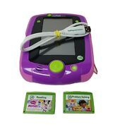 Leapfrog Leappad 2 Explorer Learning System Purple Neon Glo Rare W/2 Games Cable