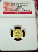 2012p Australia Gold 5 Lunar Year Of The Dragon Ngc Ms 70 Perfection