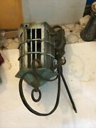 Vtg Old Antique Wrought Iron Hanging Wall Sconce Mount Porch Light