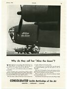 1943 Consolidated B-24 Liberator Bomber Alice The Goon Wwii Vintage Print Ad