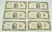 Lot Of 6 1953 A-b Us Red Seal 2 Dollar Paper Currency Au-cu Grade Notes
