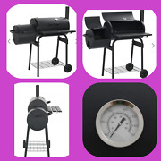 Classic Charcoal Bbq Offset Smoker With 3 Chrome-plated Cooking Grids Black