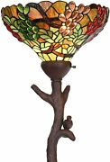 Style Torchiere Floor Lamp With 14 Inches Stained Glass Lampshade