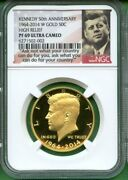 2014 Kennedy 50th Anniv High Relief Proof Gold Ngc Pf 69 Ultra Cameo 3/4 Oz