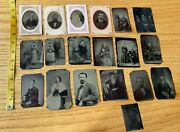 """Lot Of 19 Small Antique Vintage Tin Type Daguerreotype Photographs 4"""" Wv Family"""