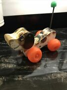 Vintage 1965 Retro Fisher Price Little Snoopy Wooden Pull Along Dog