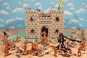 Wooden Castle Knights Playset - 60mm Unpainted Plastic Toy Soldiers Wood Castle