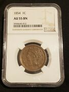 1854 1c Braided Hair Large Cent Ngc Au 55 Bn About Uncirculated Original