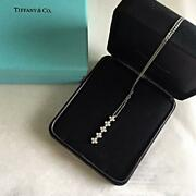 And Co. Race Drop Diamond Necklace Pt950 Free Shipping No.7151