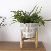 Ceramic Plant Pot With Wood Stand 7.3 Inch Modern Round Decorative Flower Pot