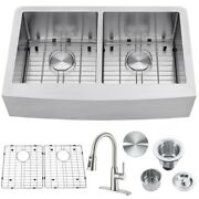 30/33in Farmhouse Apron Handmade Kitchen Single/double Bowl Sink Combo W/ Faucet