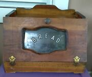 Rare Vintage Wooden Bread Box Plastic Middle With Bread Also Holds Bread On Top