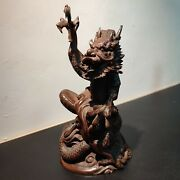 Chinese Antique Wooden Carvings Dragon Wood Carving Statue Oriental Home Decor
