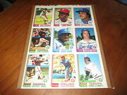 1982 O-pee-chee Baseball Uncut Sheet Of 9 Ron Guidry Lonnie Smith Willie Aikens