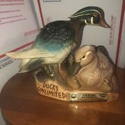 Ducks Unlimited Wood Duck And Blue Winged Teal Jim Beam Decanter Empty 1982 1980