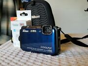 Nikon Coolpix Aw100 Camera With New Battery And Charger- Blue