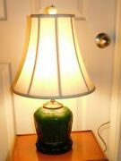Antique Chinese Jade Green Glaze Shiwan Clay Pottery Jar Electric Lamp