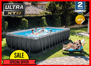 Intex 24ft X 12ft X 52in Ultra Xtr Rectangular Swimming Pool Set And Sand Filter