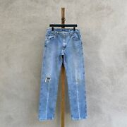 Vintage Wrangler 47mwzds Original Fit Worn And Distressed Jeans Fits 34 X 35