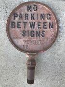 Vintage Andldquono Parking Between Signs Two Sided Cast Sign Auto Gas Oil 1