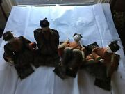 Japanese Antique Very Old Four Court Musician Dolls Possibly Edo Period 9 As Is