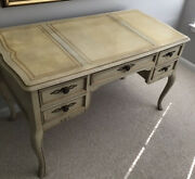 Sligh Vintage French Country Provincial Leather Writing Desk/vanity Table