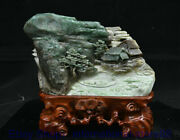 9.6 China Natural Dushan Green Jade Carving House Boat Mountain Water Statue