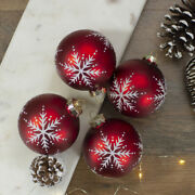 4 Christmas Glass Balls Ornaments Red White Snowflake Matte Collectible 3.25