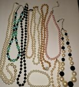 Vintage Necklace Faux Black White Pearl Antique Clasp Glass Bead Jewelry Lot